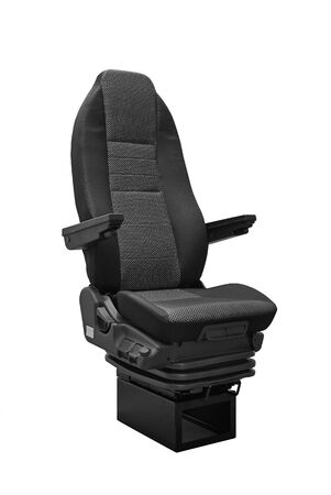 headrest: Coach seat isolated on white background - three quart front view