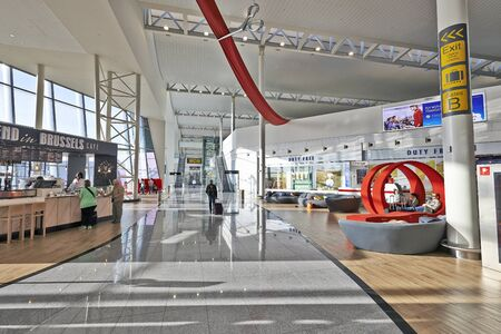 novelties: BRUSSELS, BELGIUM- JUNE 07, 2015: Immediately after security, Passengers enters a brand-new shopping environment. A wide boulevard leads you through a large walk-through shopping at Zaventem airport in Brussels