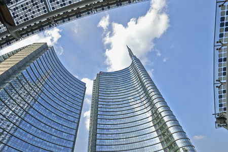 architectural feature: MILAN, ITALY- JUNE 11, 2015: Unicredit Tower in piazza Aulenti, Milano skyline palazzo Unicredit