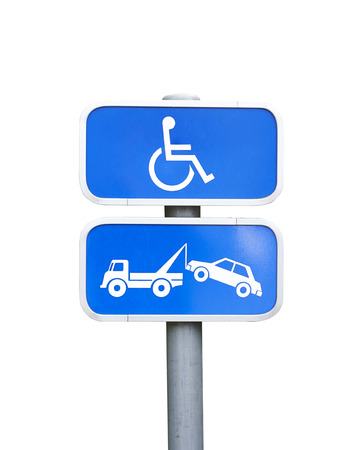 physical impairment: A handicap parking sign and car removal sign Isolated on white with clipping path
