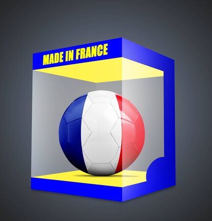 qualify: Soccer balls with team flag from France in transparent box and on gray gradient background