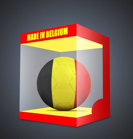 qualify: Soccer balls with team flag from Belgium in transparent box and on gray gradient background Stock Photo
