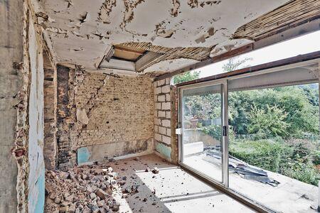 abandoned room: Large abandoned room under demolition before renovation Stock Photo