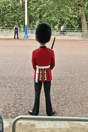 troop: LONDON, ENGLAND - JJUNE 07, 2014: Troop Guard near Buckingham Palace, London for Trooping the Colour in London, England the 07 june 2014 Editorial