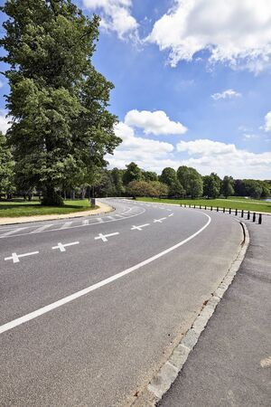 back and forth: A road twists back and forth through several curves ,concept for road security