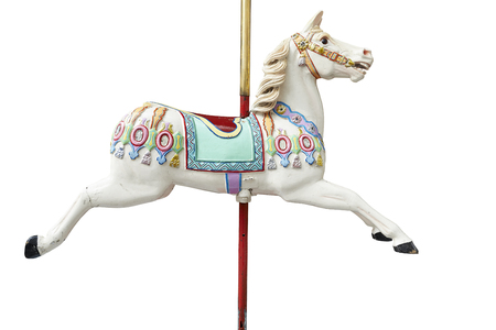 A classic carousel horse. Clipping path included. Фото со стока
