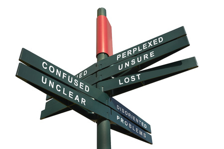 Lost and Confused Signpost against white background - clipping path for isolated the panels Stock Photo