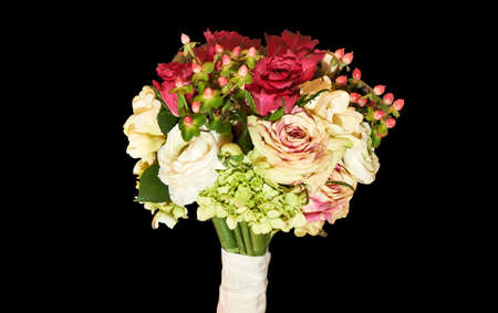 Bridal bouquet isolated on black with clipping path Stock Photo