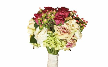 Bridal bouquet isolated on white with clipping path