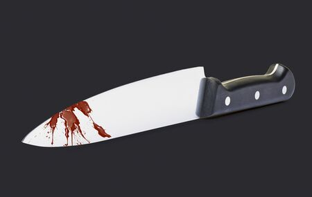 clean blood: Kitchen Knife isolated on Black with Clipping path and Blood on blade