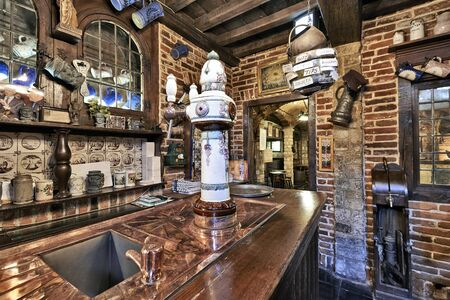 BRUSSELS, BELGIUM - SEPTEMBER 21, 2015: Old section of the ancient history of beer in the brewery museum in the house of Belgian Brewers at 10 Grand Place in Brussels, Belgium