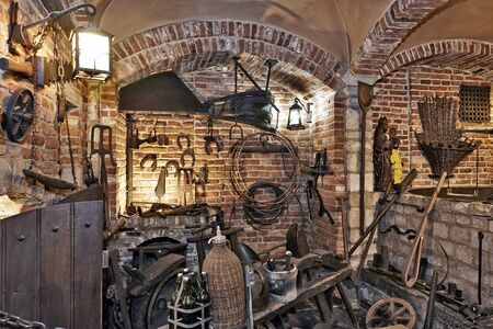 brewers: BRUSSELS, BELGIUM - SEPTEMBER 21, 2015: Old section of the ancient history of beer in the brewery museum in the house of Belgian Brewers at 10 Grand Place in Brussels, Belgium Editorial
