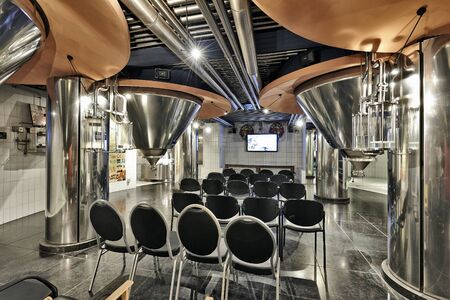 brewers: BRUSSELS, BELGIUM - SEPTEMBER 21, 2015: Section of the New story of beer in the brewery museum in the house of Belgian Brewers at 10 Grand Place in Brussels, Belgium