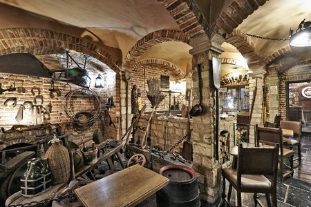 brewery: BRUSSELS, BELGIUM - SEPTEMBER 21, 2015: Old section of the ancient history of beer in the brewery museum in the house of Belgian Brewers at 10 Grand Place in Brussels, Belgium Editorial
