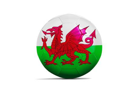 Fußbälle mit Team-Flaggen, Fußball Euro 2016. Gruppe B, Wales Lizenzfreie Bilder