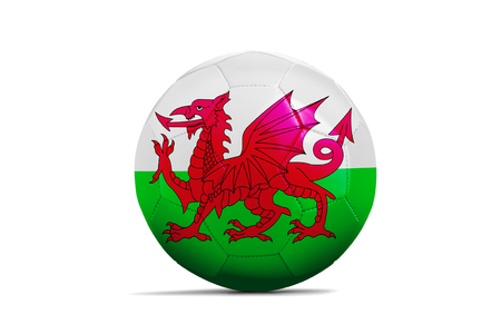 Soccer balls with team flags, Football Euro 2016. Group B, Wales