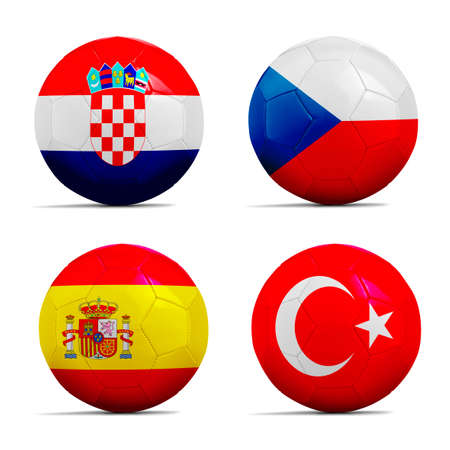 cup four: Four Soccer balls with group D team flags, Football Euro cup 2016. Stock Photo