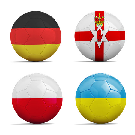 cup four: Four Soccer balls with group C team flags, Football Euro cup 2016. Stock Photo