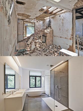 垂直書式で浴室の前に、と後の改修