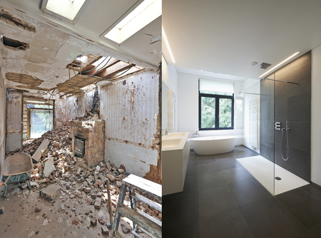 bathroom mirror: Renovation of a bathroom Before and after in horizontal format