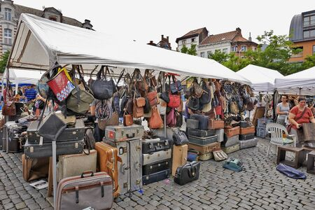 BRUSSELS, BELGIUM - JULY 27, 2014: Flea market at Place du Jeu de Balle on July 27, 2014 in Brussels. The market takes place daily and is popular among local people and tourists. Editorial