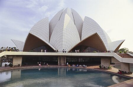lotus temple: DELHI, INDIA- NOVEMBER 12, 2001: Visitors at The Lotus Temple, located in New Delhi, India. It is a House of Worship completed in 1986.