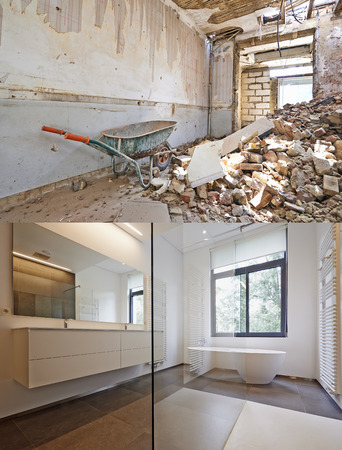 bathroom mirror: Bathtub in corian, Faucet and shower in tiled bathroom , Renovation Before and after Stock Photo