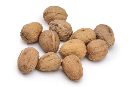 Small Group of Closed Walnuts Isolated on White Background