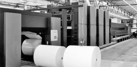 offset printer: Offset printer press in industry plant Stock Photo