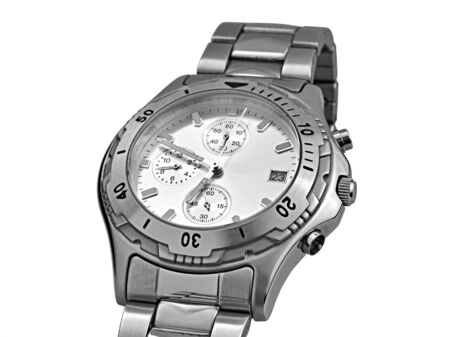 to face to face: Automatic (with markings removed) wrist watch isolated on white with clipping path
