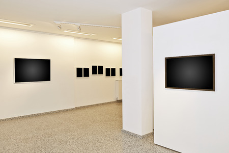 replaced: exhibition gallery, wall mounted art with museum style lighting, the art has been removed and replaced. There are path for the frame
