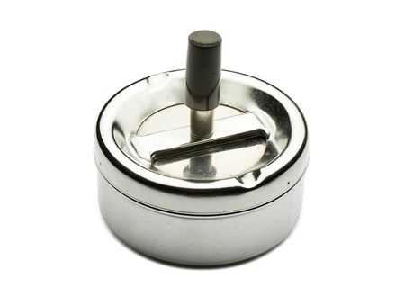 silvered: Close up on a silvered retro ashtray on white background - clipping path