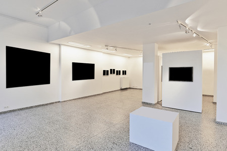 wall mounted: exhibition gallery, wall mounted art with museum style lighting, the art has been removed and replaced. There are path for the frame