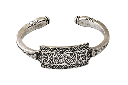 etnic: Handmade bracelet in silver on white background isolated with clipping path