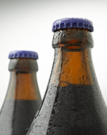 dew cap: A cap of beer bottle covered with water drops