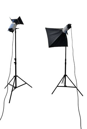 lighting equipment: studio lighting equipment isolated on white with clipping path Stock Photo