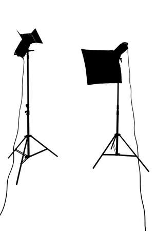 lighting equipment: Silhouette of studio lighting equipment isolated on white with clipping path