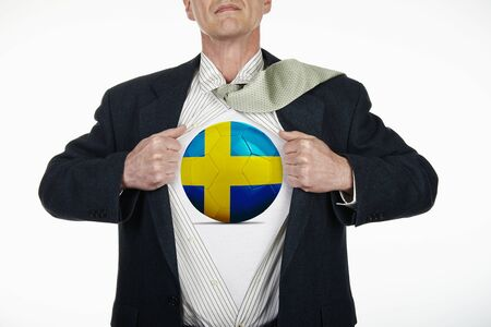 fully unbuttoned: Superhero pulling Open White Shirt with soccer ball flagged Sweden on white background