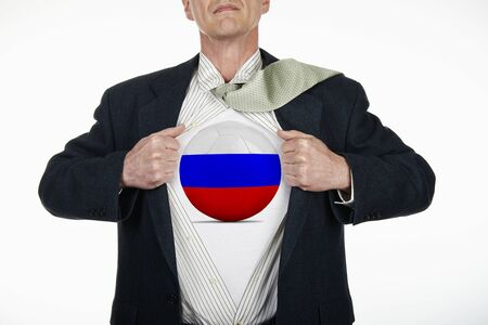 fully unbuttoned: Superhero pulling Open White Shirt with soccer ball flagged Russia on white background Stock Photo