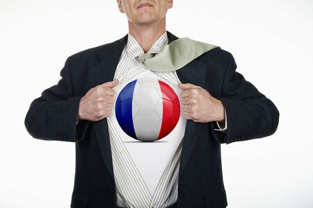 fully unbuttoned: Superhero pulling Open White Shirt with soccer ball flagged France on white background