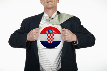 fully unbuttoned: Superhero pulling Open White Shirt with soccer ball flagged Croatia on white background