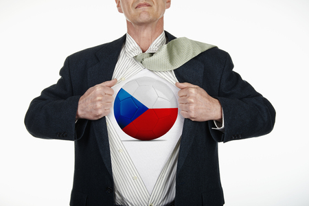 fully unbuttoned: Superhero pulling Open White Shirt with soccer ball flagged Czech republic on white background