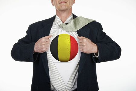 fully unbuttoned: Superhero pulling Open White Shirt with soccer ball flagged Belgium on white background