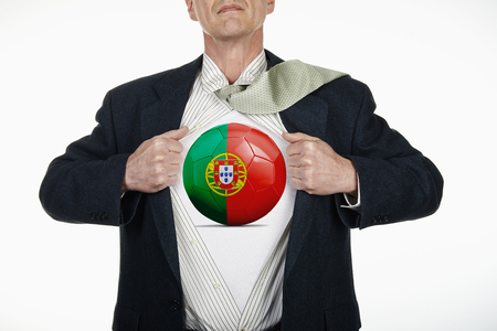 fully unbuttoned: Superhero pulling Open White Shirt with soccer ball flagged Portugal on white background