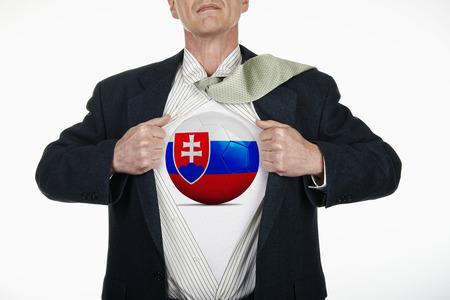 fully unbuttoned: Superhero pulling Open White Shirt with soccer ball flagged slovakia on white background