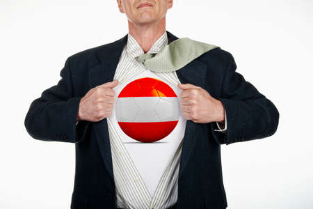 changing form: Superhero pulling Open White Shirt with soccer ball flagged Austria on white background
