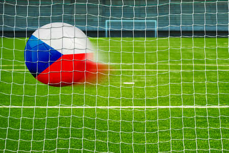 penalty flag: Shot on goal, soccer ball with the flag of Czech republic in the net Stock Photo