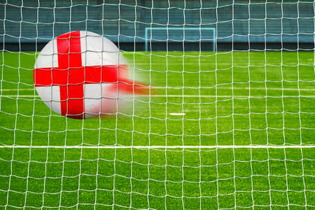 penalty flag: Shot on goal, soccer ball with the flag of England in the net