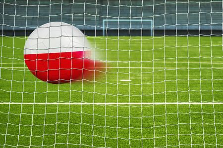 penalty flag: Shot on goal, soccer ball with the flag of Poland in the net