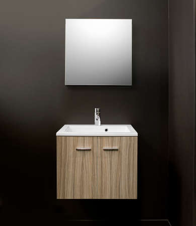 household fixture: Sink vanity with furniture  on Brown wall